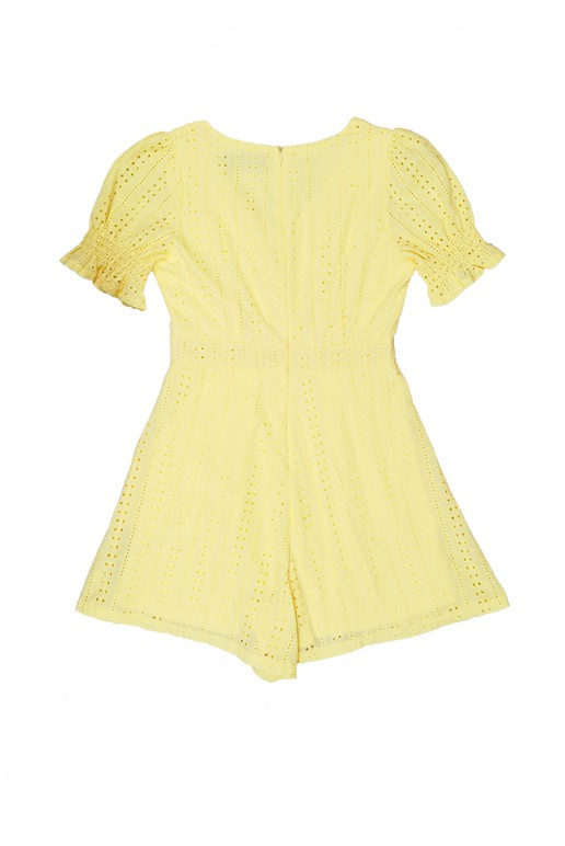 Fine V Neck Button Top Puff Sleeve Eyelet Playsuit (Pale Yellow)
