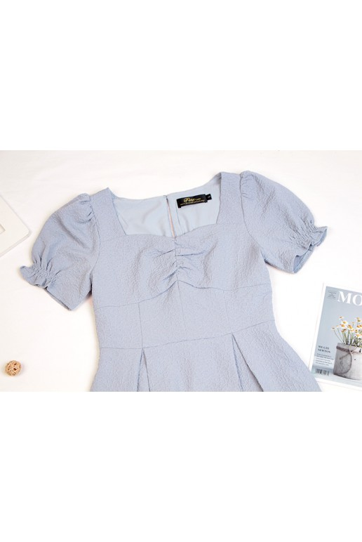 Fine Square Neck Puff Sleeve Textured Pleated A Line Dress (Light Grey)