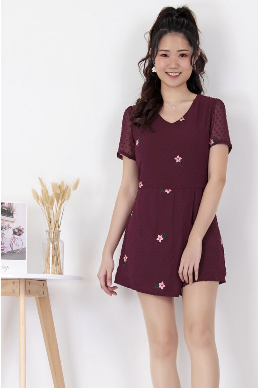 Floral Embroidered Chiffon Dot Addiction Overlay Playsuit (Burgundy)