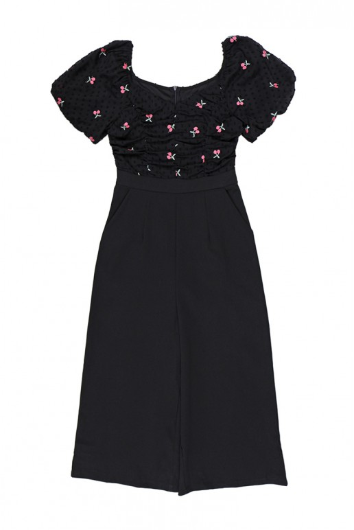 Sweetheart Square Neck Floral Embroidered Chiffon Top Jumpsuit (Black)