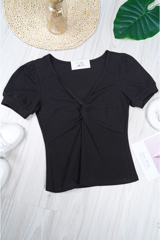 V Neck Puff Sleeve Front Knot Crop Top (Black)
