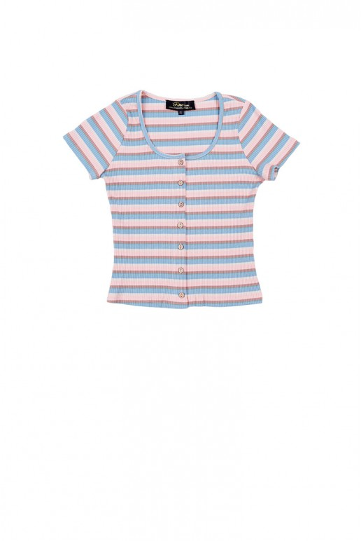 Fine Button Up Multi Color Stripe Knitted Crop Top (Blue)