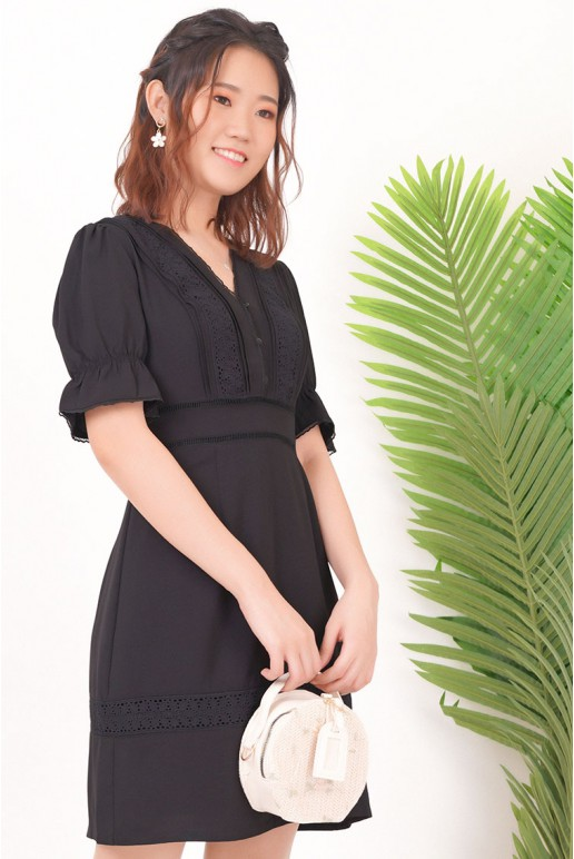 Fine Bell Sleeve Button Up Lace Trim Top Eyelet Dress (Black)