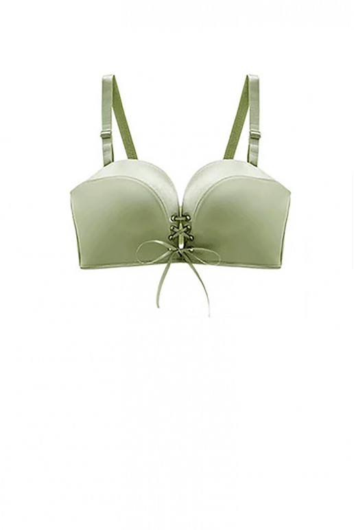 Lace Up Front Tie Wireless Strapless Push Up Bra (Avocado)