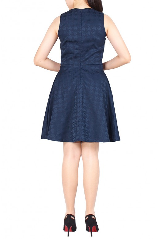 Geo-Textured Pocketed Swing Dress (Navy)